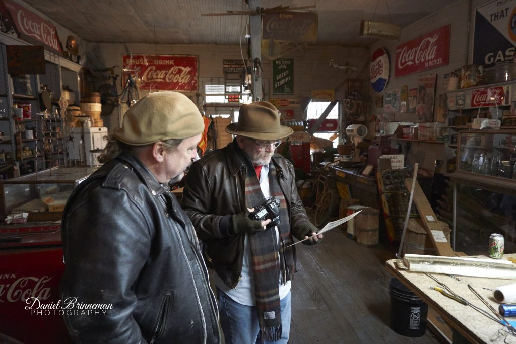 Owner Dave Oneppo and Photographer Michael Hutchinson inside Edgemoor General Store